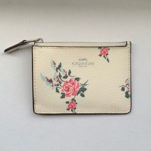 Cream and Floral Coach Mini Wallet Card Holder